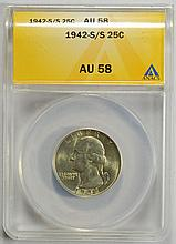1942-S/S Washington Quarter AU-58 ANACS