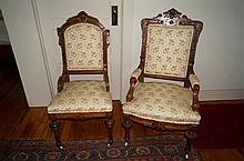 Pair of Victorian Walnut Upolstered Chairs