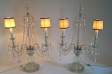Pair of Victorian Double Armed Cut Crystal Girandoles
