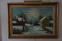 Hill; Primitive American Oil Painting Signed
