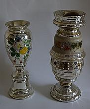 Two(2) Painted Mecury Glass Vases