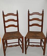Set of Four(4) Mahogany Ladder Back Chairs