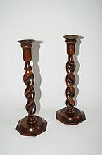 Pair of Twisted Oak Candlesticks