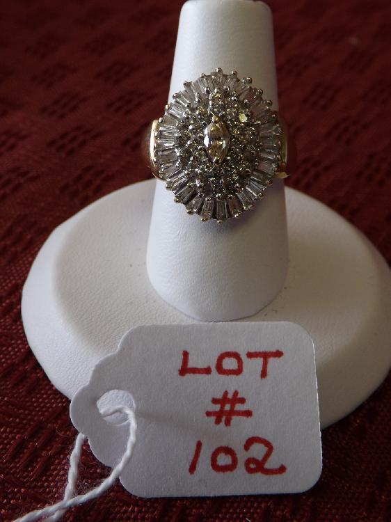Ladies 14k 1+ Carat TW Diamond Ballerina Cocktail Ring (3 Dwt)