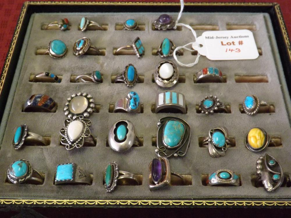 Sterling Silver Ring Collection (Turquoise, Onyx, Etc.)(4.88 Oz)