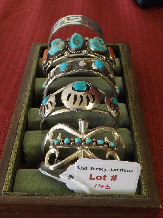 Five Sterling Silver Heavy Turquoise Bangle Bracelets (6.49 Oz)