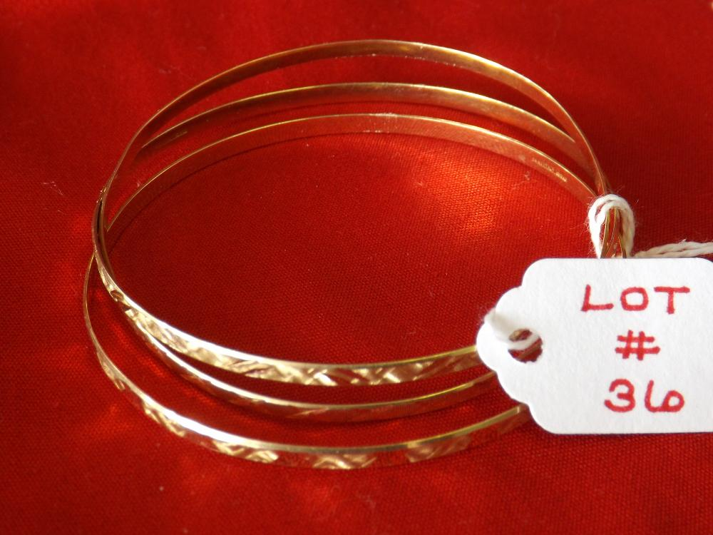 Three Ladies 14k Yellow Gold Bangle Bracelets (8.7 Dwt)