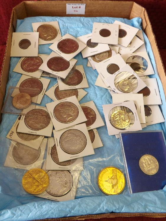 Tray Lot of Mixed Silver Coins & Misc. others