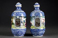 (2) Chinese Porcelain Revolving Snuff Bottles