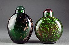 (2) Chinese Glass Snuff Bottles