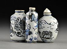 (3) Chinese Blue and White Porcelain Snuff Bottles