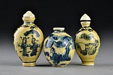 (3) Chinese Blue and Celadon Porcelain Snuff Bottles