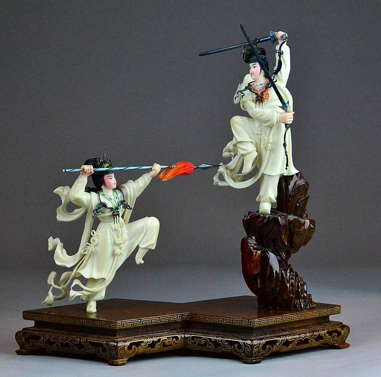 Chinese Polychrome Painted Ivory Warriors On Stand