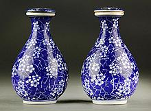 Pair of Chinese Blue & White Porcelain Covered Jar