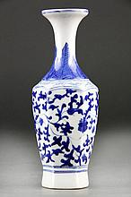 Chinese Blue and White Porcelain Hexagonal  Vase
