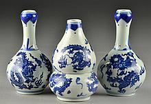 (3) Chinese Blue and White Porcelain Vases