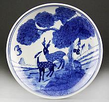Chinese Blue and White Porcelain Dish - Deer