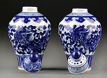 Pair Chinese Blue and White Porcelain Mini-Urns