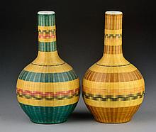 (2) Chinese Bamboo Over Porcelain Vases