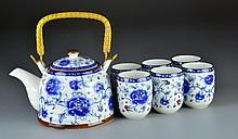 (7) Piece Chinese Contemporary Porcelain Tea Set