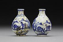 (2) Chinese Blue and White Porcelain Snuff Bottles