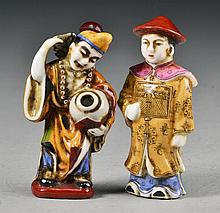 (2) Pcs Chinese Porcelain Male Figure Snuff Bottle