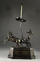 Patinated Spelter Figural Table Lamp