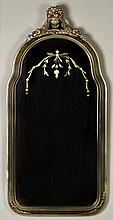 Antique Painted and Etched Glass Wall Mirror