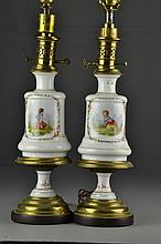 Pr French Porcelain Table Lamps