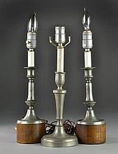 (3) American or Continental Pewter Candlesticks