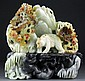 Chinese Jade Carving of Two Bears and Blossoms