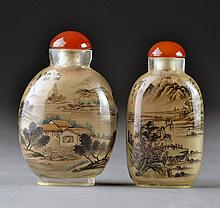 (2) Chinese Glass Reverse Painted Snuff Bottles