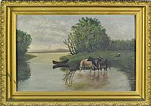 Hudson River School Oil on Canvas Riverscape