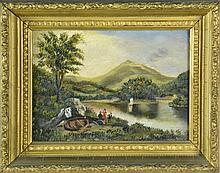 Hudson River School Oil on Board Riverscape