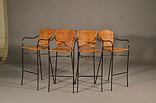 (4) Wrought Iron and Rattan Bar Stools