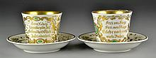 (4) Pcs. Antique KPM German Gilt Porcelain Cups & Saucers
