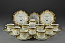 (32) Pieces Mintons English Gilt Porcelain Partial Tea Set