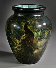 A Monumental Victorian Carved and Lacquered Wood Vase