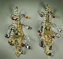 Pr. Antique Continental Bronze & Beaded Glass Sconces