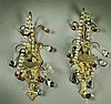 Pr. Antique Continental Bronze & Beaded Glass Sconces