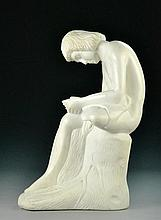 A Finely Carved White Carrera Marble Sculpture