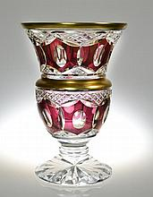 A Bohemian Cranberry Cut to Clear Glass Vase