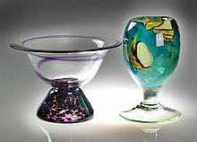 (2) Pieces Signed American Art Glass