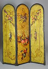 A Hand Painted Victorian Leather Screen