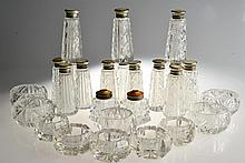 (26) Glass & MOP, Guilloche, & Sterling Open Salts & Shakers