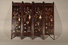 Chinese Hardwood & Hard stone Applique Screen