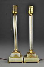 Pr. Empire Gilt Bronze and Marble Table Lamps