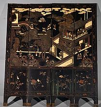 Chinese Four Panel Lacquer Coromandel Screen