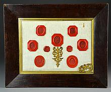 Framed Collection of Antique Red Wax Seals