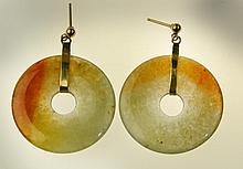 Pr. Chinese Jade Disk Earrings